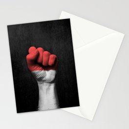 Indonesian Flag on a Raised Clenched Fist Stationery Cards