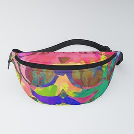 old vintage funny skull art portrait with painting abstract background in red pink yellow green blue Fanny Pack