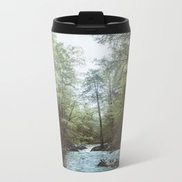 Peaceful Forest, Green Trees and Creek, Relaxing Water Sounds Metal Travel Mug