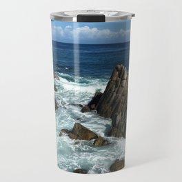 Waves crashing on rocks in Monterey Bay Travel Mug