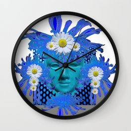 BLUE MASQUERADE MASK WITH WHITE DAISIES Wall Clock