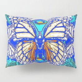 TURQUOISE & CREAM COLORED BUTTERFLIES  BLUE PEACOCK ART Pillow Sham