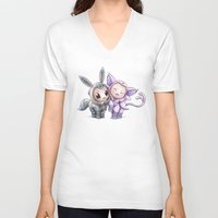 eevee V-neck T-shirts featuring A Psychic Adoration by Randy C