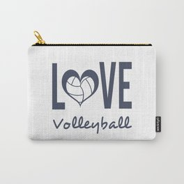 Love Heart Volleyball (blue) Carry-All Pouch