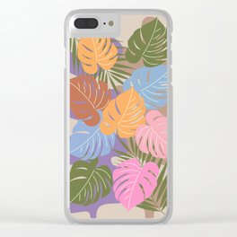 Monstera leaves on an abstract background Clear iPhone Case