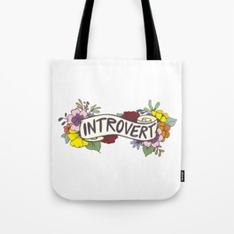 Floral Introvert Banner Tote Bag
