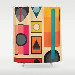 Modern Retro Design Shower Curtain