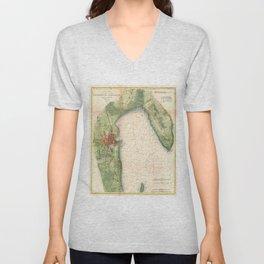 Vintage Map of Plattsburgh New York (1872) Unisex V-Neck