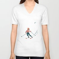 sports V-neck T-shirts featuring Sports d'hiver by Vannina