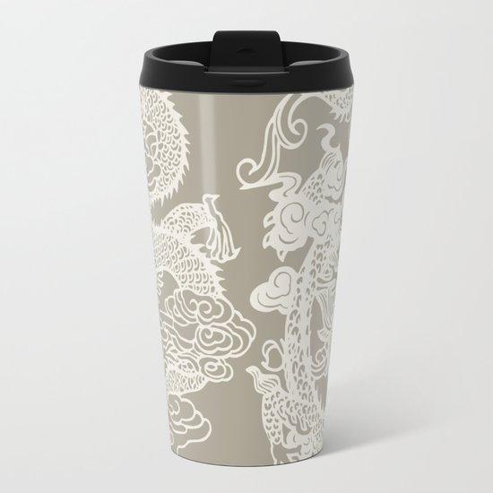 Gray Grey Alabaster Dragon Gate Metal Travel Mug