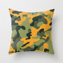 Green & Orange Camo Throw Pillow