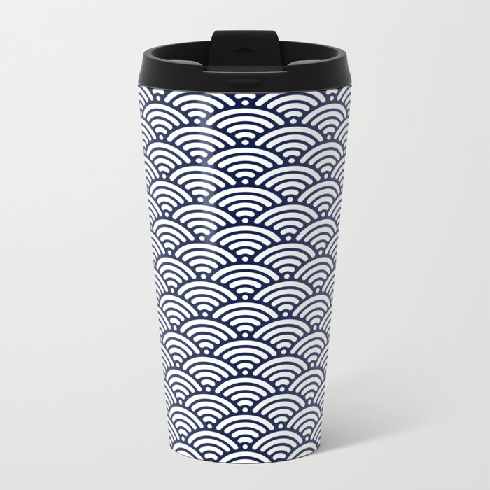 Indigo Navy Blue Wave Metal Travel Mug