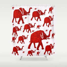 ELEPHANT Red #1 Shower Curtain