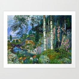 Wilderness Landscape, Wild Foxglove Flowers, White Birch, Stream & Cattle by Nikolai Astrup Art Print