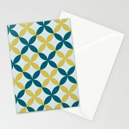 Dark Teal, Pale Blue and Dark Yellow 4 Leaf Minimal Flower Petal Pattern 2 Inspired by Sherwin Williams 2020 Trending Color Oceanside SW6496 Stationery Cards