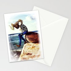 Girl on a stone Stationery Cards