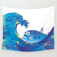 hokusai Wall Tapestries featuring Hokusai Rainbow & Globefish  by FACTORIE