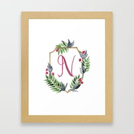 Jungle Gold Monogram Crest N Framed Art Print