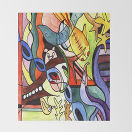 Childhood Series: Playtime with Animals Watercolor Painting Throw Blanket