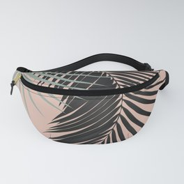 Palm Leaves Black Soft Green Pale Terracotta Vibes #1 #tropical #decor #art #society6 Fanny Pack