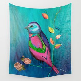 Colorful bird with roses Wall Tapestry
