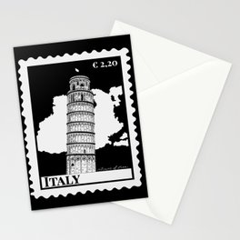 Leaning Tower of Pisa in Italy B&W Stationery Cards