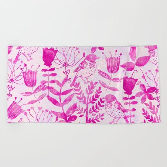 Watercolor Floral & Birds II Beach Towel