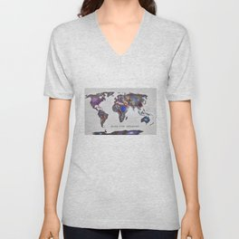 """Star map. Never stop exploring...II"". World map. Unisex V-Neck"