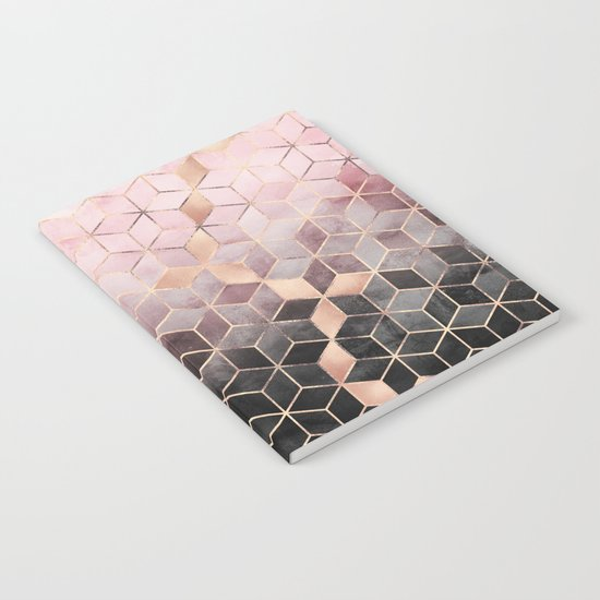 Pink And Grey Gradient Cubes Notebook