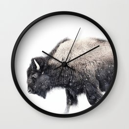 Bison in Yellowstone National Park Wall Clock