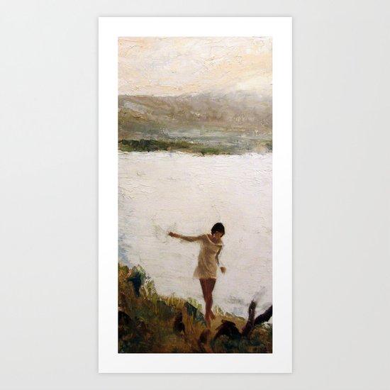 Lake and Girl Art Print