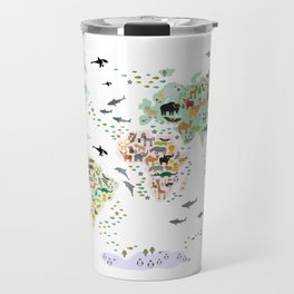 Cartoon animal world map for children, kids, Animals from all over the world, back to school, white Travel Mug