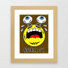 FREAKIN' CRYING EMOTICON! Framed Art Print