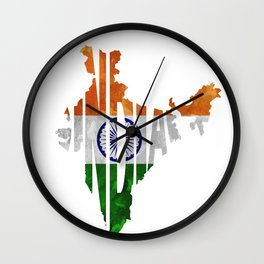 India World Map / Indian Typography Flag Map Art Wall Clock