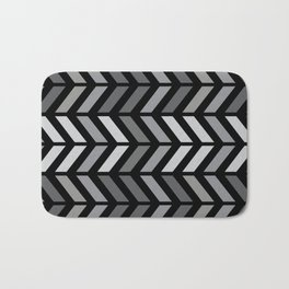 Chevron Black Gray Bath Mat