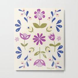 Folk Art Floral Pattern Design in Beige and Blue Metal Print