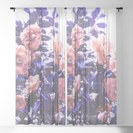 Wild Roses - Ultra Violet and Coral #decor #floral #buyart Sheer Curtain