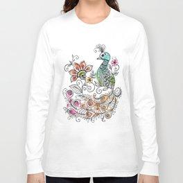 Peacock Doodle Long Sleeve T-shirt