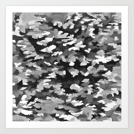 Foliage Abstract Pop Art In Monotone Black and White Art Print