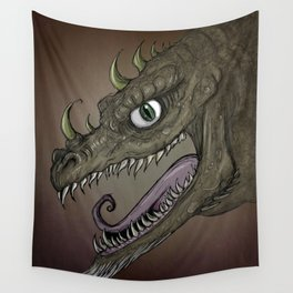 Brown dragon illustration Wall Tapestry