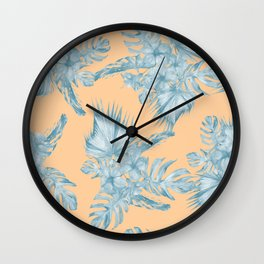 Ocean Blue Palm Leaves on Coral Apricot Wall Clock