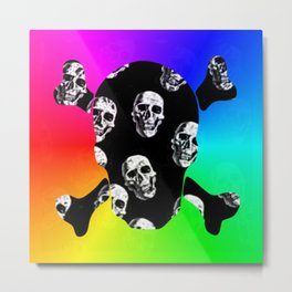 Rainbow Sugar Skull Metal Print