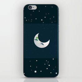 Little Green Man on Moon and Stars iPhone Skin