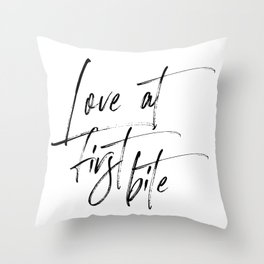 Love At First Bite, Dessert Sign, Lovely Words, Sweets Table Sign Throw Pillow