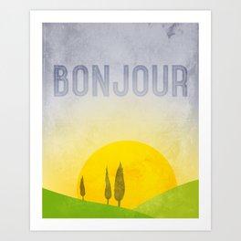 Bonjour! French quote art, kitchen art, kitchen wall decor, modern landscape & typography art. Art Print