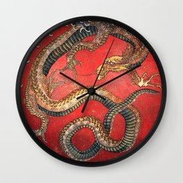 Dragon by Hokusai Wall Clock