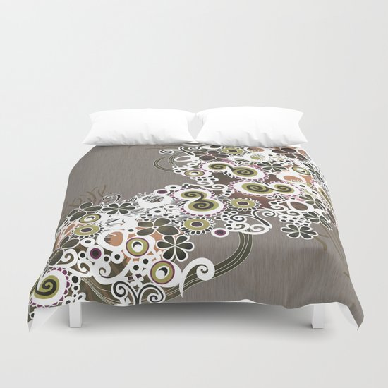 Diagonal flower – brown and olive green fiber Duvet Cover