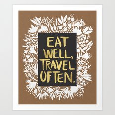 Eat Well, Travel Often (on Kraft) Art Print