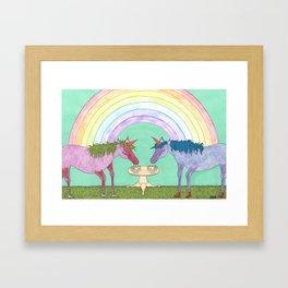 Unicorns love Banana Splits Framed Art Print