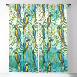 Watercolor blue yellow tropical parrot bird floral Blackout Curtain
